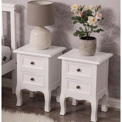 2* White Bedroom Bedside Table Unit Cabinet Nightstand with 2 Drawers in Each