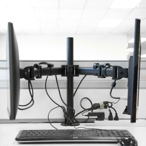 """Dual LCD monitor desk mount heavy duty fully adjustable fits 2 screens up to 27"""""""