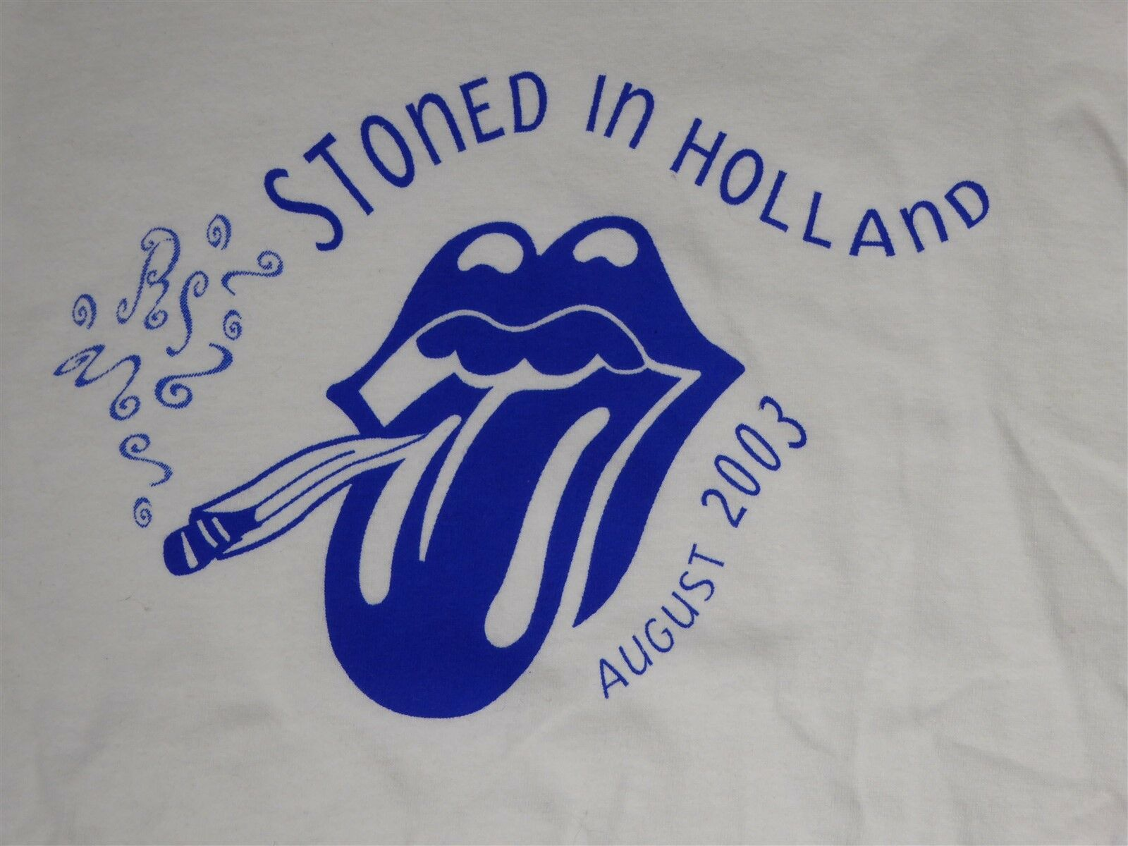 Rolling Stones Stoned in Holland August 2003 2XL Weiß T-Shirt RARE