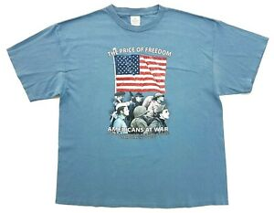 Vintage Americans At War Smithsonian Tee Slate Blue Size XL Mens T-Shirt