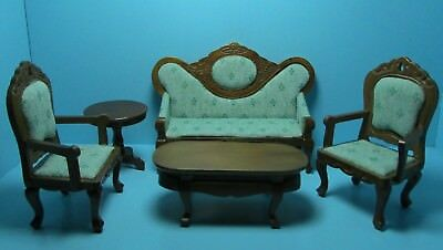 Dollhouse Miniature Victorian Living Room Sofa /& Chairs Floral /& Mahogany 91711