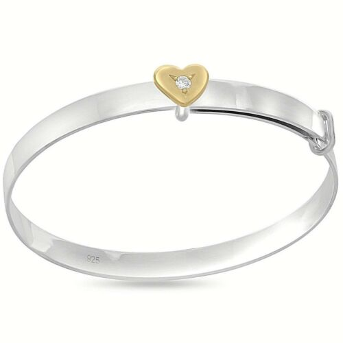 Box 925 Sterling Silver Personalised Baby Bangle Gold Plated Heart Xmas Gift