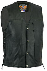 New-Mens-Motorcycle-Harley-Style-A-Grade-Premium-Leather-Lined-Vest-Size-S-6XL