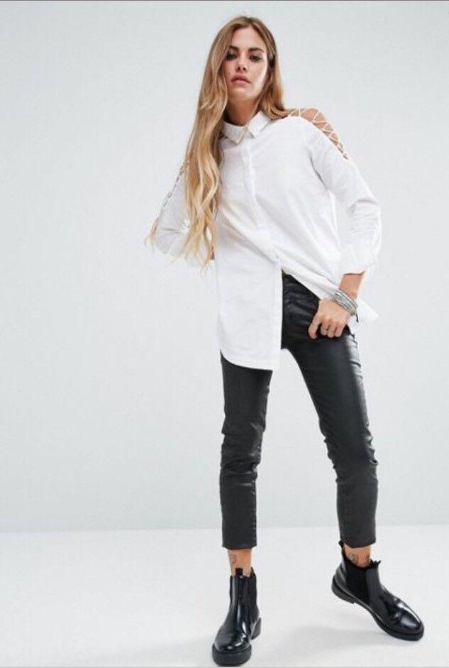 Noisy May damen Longline Cut Out Lace Up Detail Sleeve Größe XSmall Top Weiß