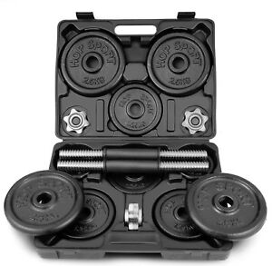 Hop-Sport-20kg-Guss-Kurzhantel-Hantel-Set-Hanteln-Gewichte-2x10kg-im-Koffer