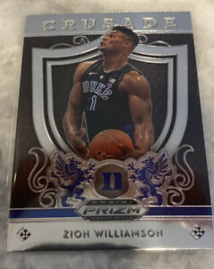 ZION-WILLIAMSON-ROOKIE-CARD-PANINI-PRIZM-RC-DUKE-JERSEY-1-PELICANS-2019-CRUSADE
