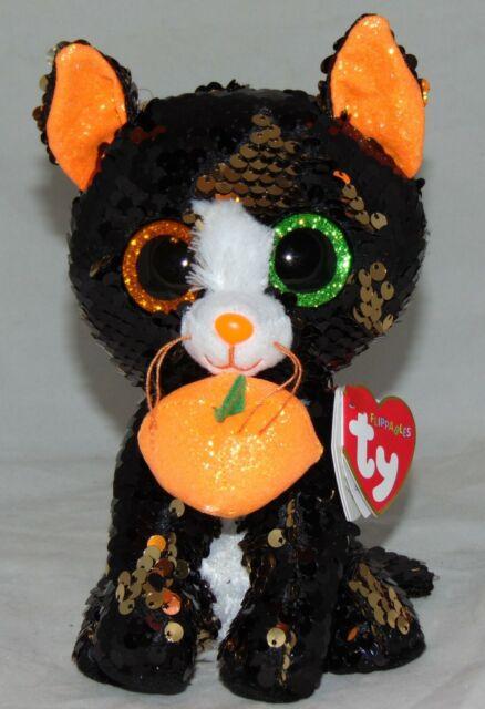 RETIRED TY BEANIE BABIES JINXY THE CAT HALLOWEEN BLACK /& ORANGE NWT