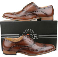 Mens New Brown Lace Up Leather Lined Formal Brogues Shoes Size 6 7 8 9 10 11 12