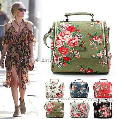NEW Women Ladies Messenger Floral Vintage Square Shoulder Handbag Cross Body Bag