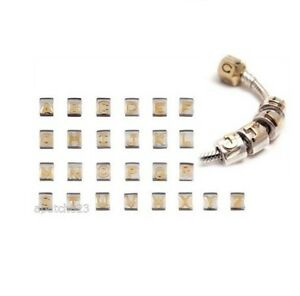 Chamilia Authentic Sterling Silver w 14k Gold Letter Beads Various ... d1dc6e3a5bbb