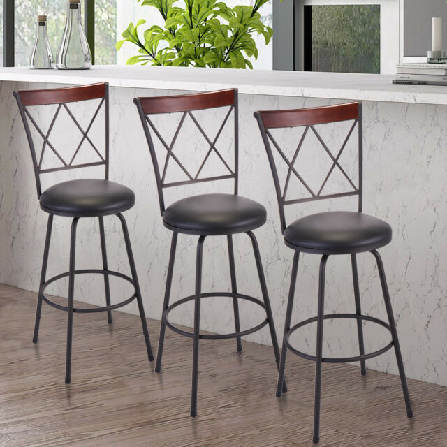 Outstanding Set Of 3 Modern High Back Swivel Bar Stool Counter Height Chair Bistro Pub Chair Onthecornerstone Fun Painted Chair Ideas Images Onthecornerstoneorg