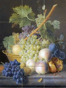 A-STILL-LIFE-WITH-GRAPES-AND-PEACHES-Tile-Mural-Kitchen-Wall-Backsplash-12-75x17