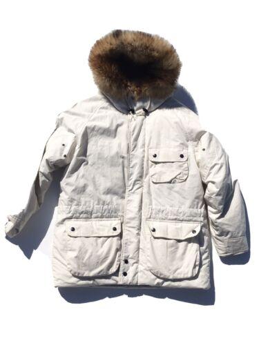 VTG 90s White Puffy hooded fur Edge 1990s nautica