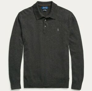 Polo Ralph Lauren 100% Soft Cashmere Knit Polo Sweater Oxford Gentleman Washable