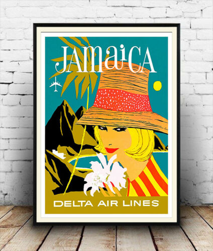 Jamaica Wall art. Vintage  Air Travel  advert Reproduction poster
