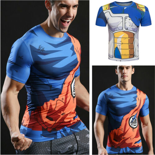 Men/'s Anime T-shirt Dragon Ball Son Goku Roshi Sennin Cosplay Costume Sport Top