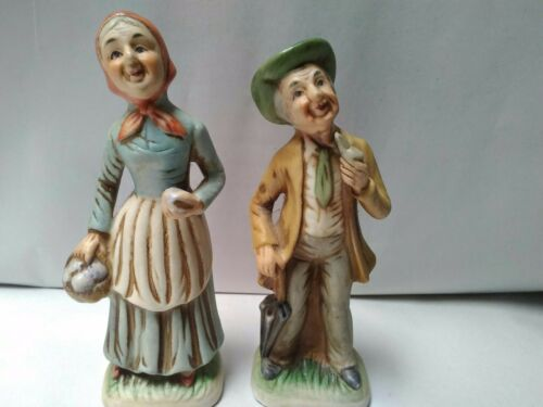 11 Porcelain Grandpa with Pipe and Grandma with Egg Basket Excellent Condition
