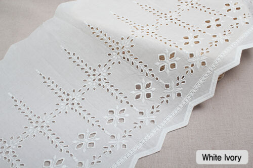 "sh9 laceking 1y Embroidery scalloped cotton eyelet lace White-Ivory 12/"" 30cm"