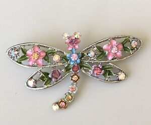 Adorable-vintage-style-Dragonfly-with-flower-brooch-enamel-on-metal