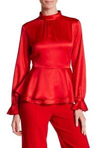 Nanette-Lepore-Red-Riding-Hood-Synthetic-Mock-Neck-Peplum-Blouse-Large