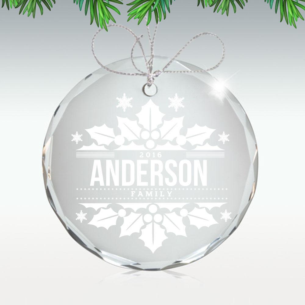 Personalized Glass Christmas Ornament -Engraved Seasonal ...