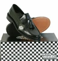 Ikon Selecta Mens Mod Ska Skinhead Polished Leather Tassle Loafers Black Size