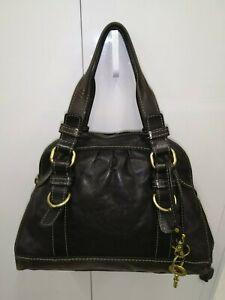 Vintage-Fifty-Four-Fossil-Black-Thick-Leather-Satchel-Handbag-Shoulder-Bag-Purse