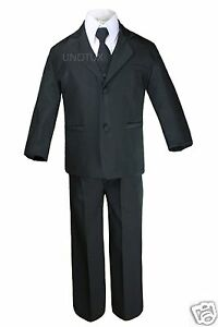 Boy-Formal-Tuxedo-Wedding-Easter-Party-Black-Suit-sz-5-6-7-8-10-12-14-16-18-20