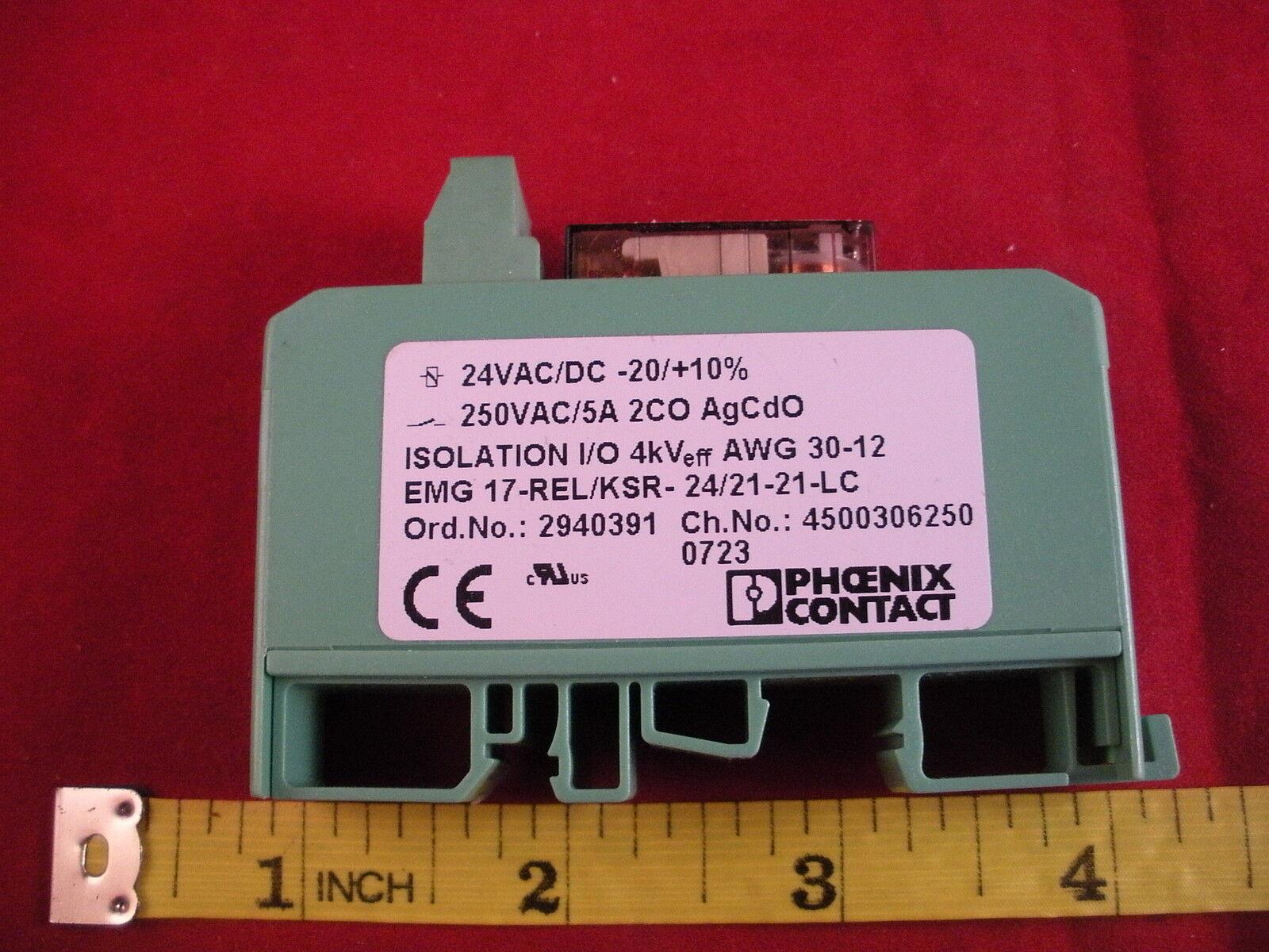 Phoenix EMG 17-REL KSR 24 21-21-LC Contact Relay Module 24v ac dc -20 +10% 5a