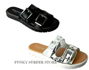 size 40 quality products outlet online WOMENS LADIES BUCKLE FLIP FLOPS SANDALS SLIP ON SLIDER MULES SHOES ...