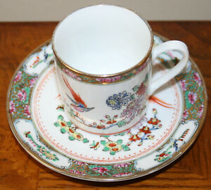 Demitasse-CUP-amp-SAUCER-HAND-PAINTED-Decoration-MADE-IN-CHINA-Flowers-Birds