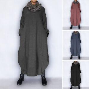Vintage-Femme-Robe-Asymetrique-Confortable-Manche-Longue-Chaud-Loose-Dresse-Plus