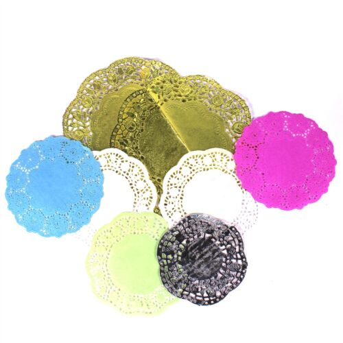 Doilies Paper Lace Doily Doileys Assorted Colours Gold Silver White Large Tea