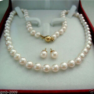 AAA-8MM-Natural-White-South-Sea-Shell-Pearl-14K-GP-Necklace-18-034-Earring-A-Set