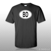 Bd Bangladesh Country Code Oval T-shirt Tee Shirt Free Sticker Bangladeshi Euro