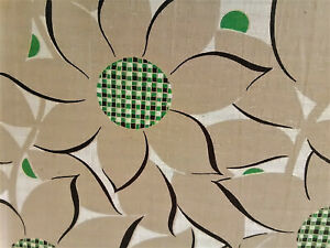 Vintage-abstract-sunflowers-mid-century-textured-cotton-fabric-curtains-drapes