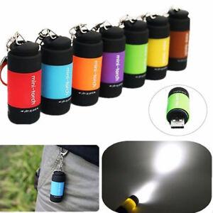 USB-Rechargeable-LED-Light-Flashlight-Lamp-Mini-Torch-Pocket-Keychain-Gracious