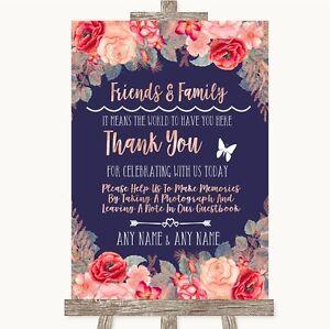 Navy Blue blush Rose Gold foto degli ospiti amici e familiari segno di nozze  </span>