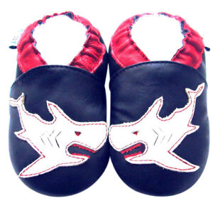 Littleoneshoes Soft Sole Leather Baby Infant Kid Boy Hornbill Blue Shoes 6-12M