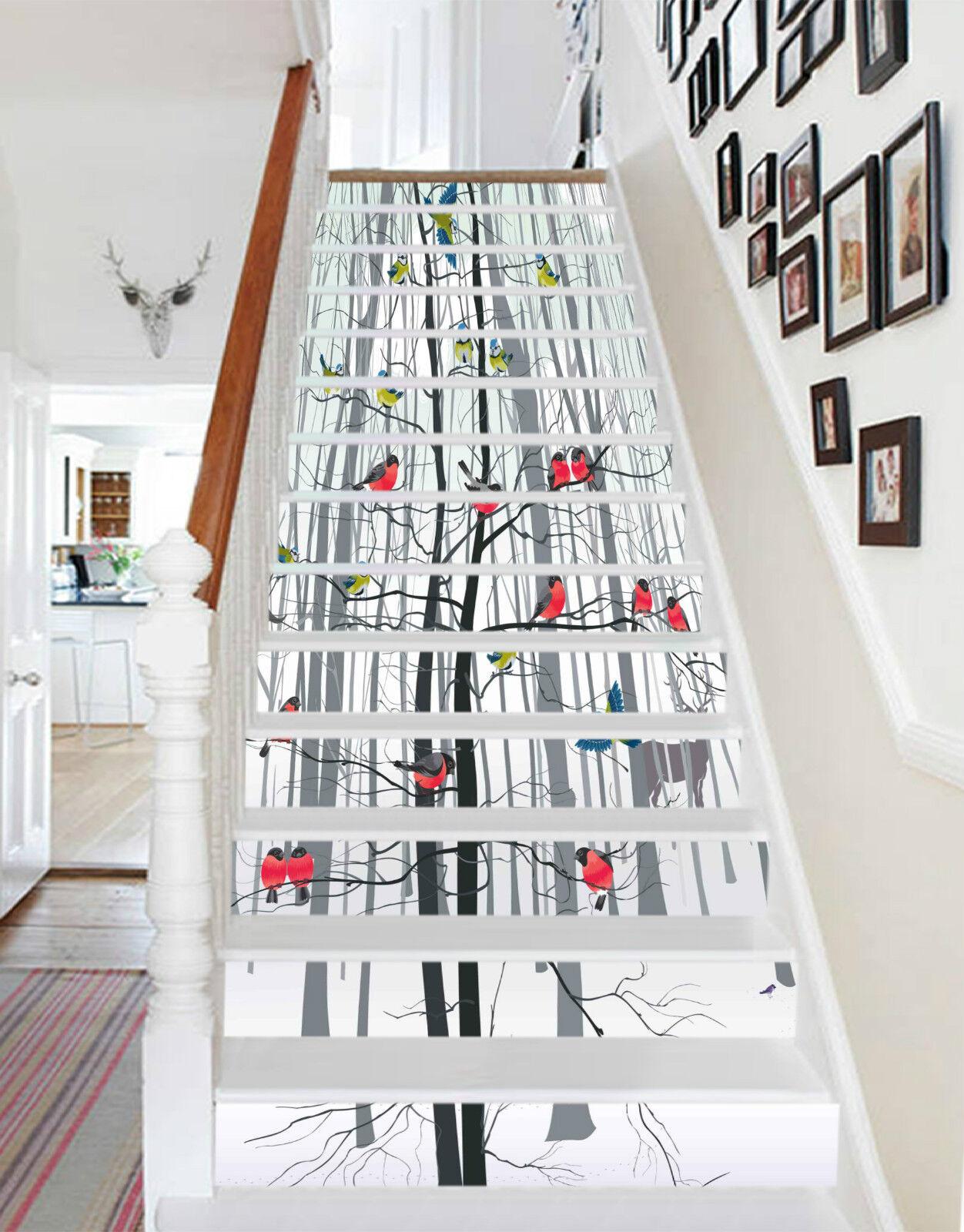 3D Baum Vogel 3156 Stair Risers Dekoration Fototapete Vinyl Aufkleber Tapete DE