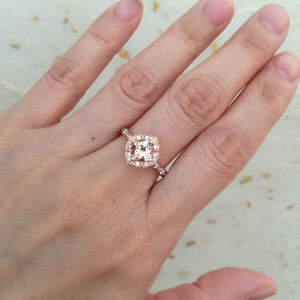 Vintage Floral Morganite Engagement Ring Scalloped Halo Diamond