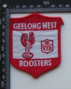 RARE VINTAGE VFA GEELONG WEST ROOSTERS EMBROIDERED WOVEN CLOTH VFL SEW-ON BADGE