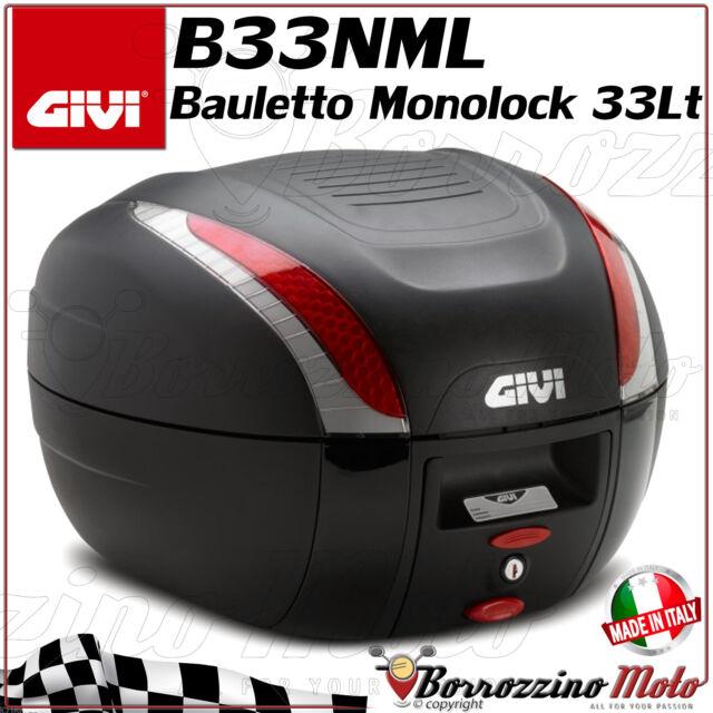 BAULETTO GIVI B33NML 33LT MONOLOCK NERO GOFFRATO PIASTRA UNIVERSALE SCOOTER MOTO