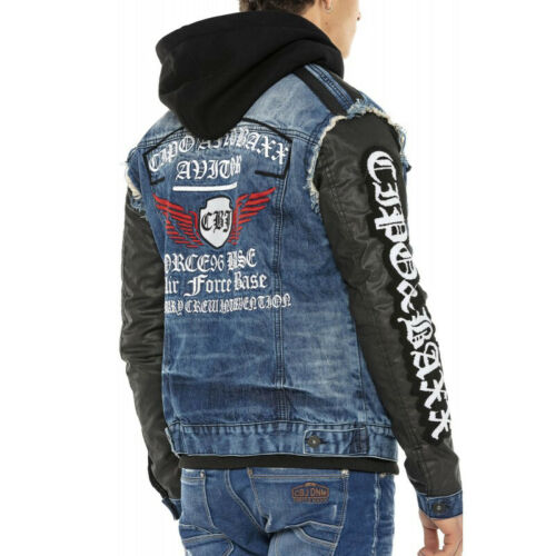 Neu Cipo /& Baxx CLAN Herren Jeans Jacke Weste Denim Hoodie CJ255 Alle Gr