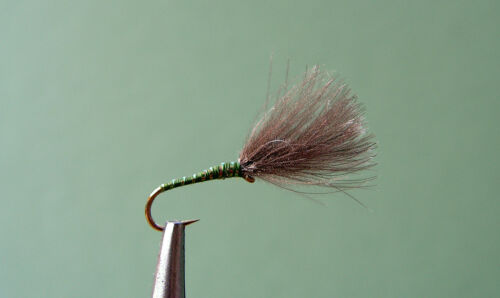 Barbless Green CDC dry flies size 14 D04BL 6 No