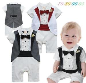 Baby-Boy-Short-Sleeve-Royal-Style-Bodysuit-Outfit-Party-6-months-2-years