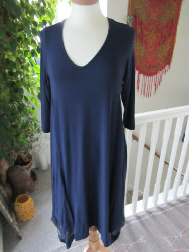 Hem S Clothes Size Navy Back Join Neck Detail Jersey Scoop Dip Dress amp; 71qxzgU