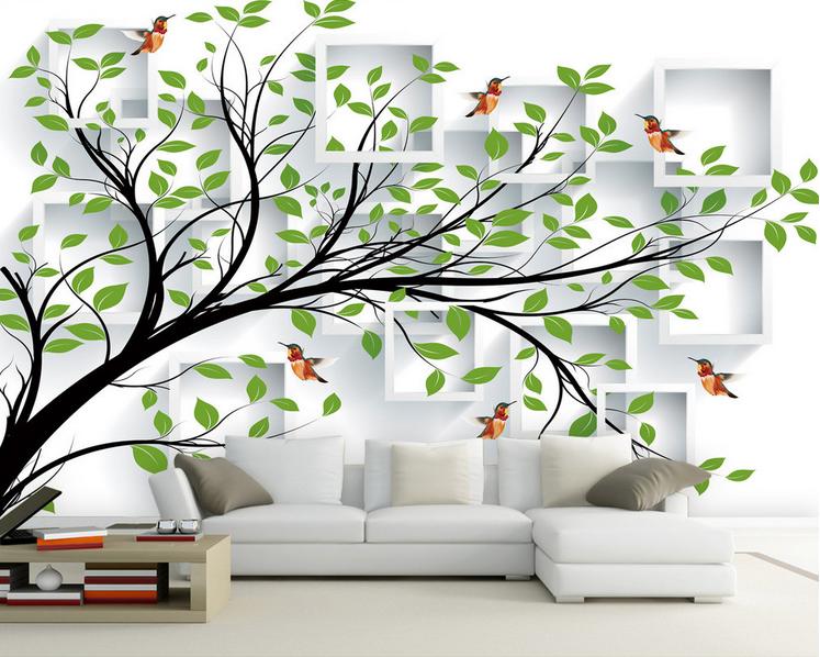 3D Vogel Grüner Baum 92 Tapete Wandgemälde Tapete Tapeten Bild Familie DE Summer   Gemäßigten Kosten    Mittel Preis    Moderne und stilvolle Mode