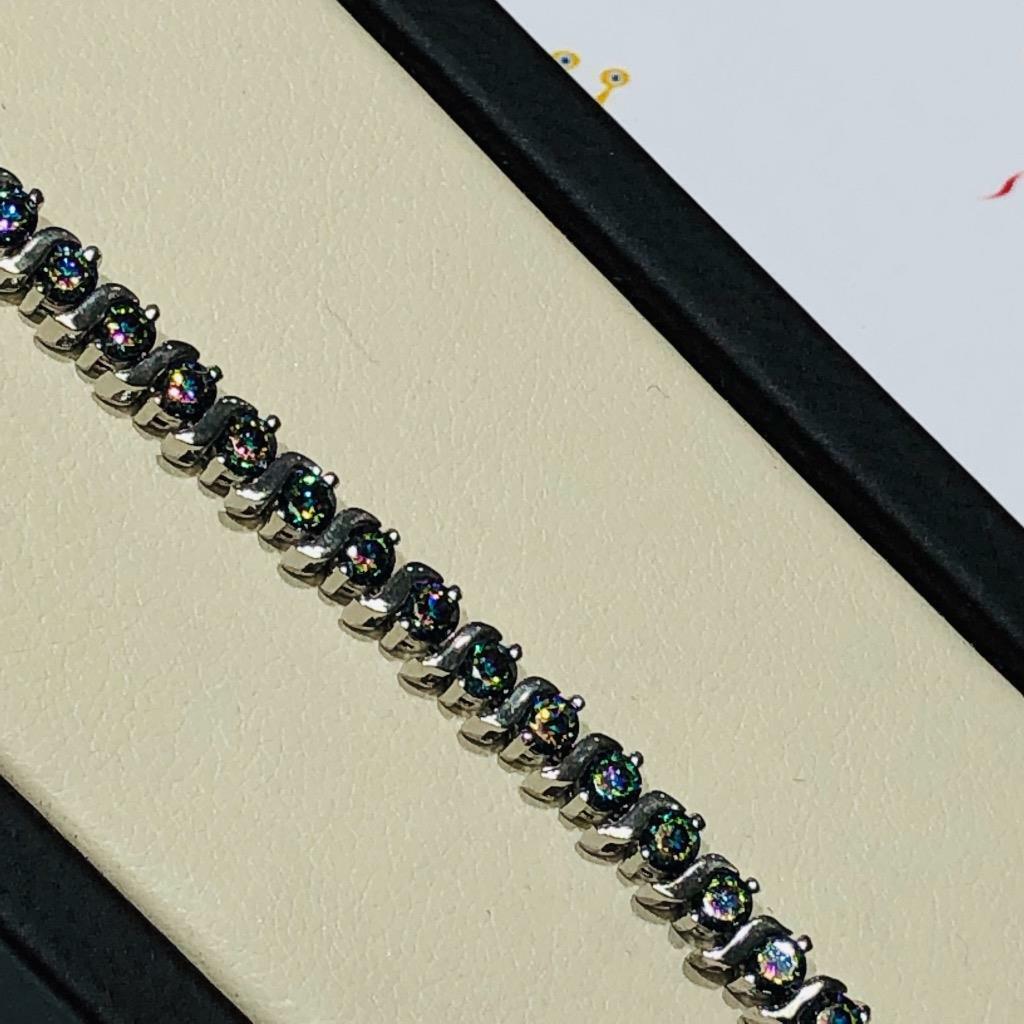 Platino argentoo Sterling Mano Set Set Set Topazio Mistico Taglio rossoondo S eeded9