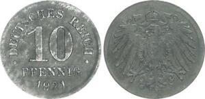 Empire 10 Pfennig J.299 1921 Lack Coinage On Thin Schrötling 2,62g XF
